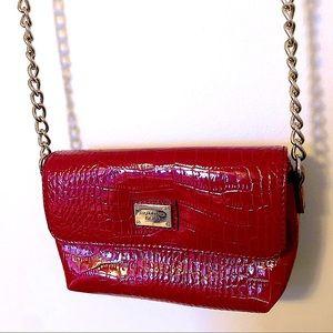 Liz Claiborne Red Crossbody Bag with Chain Strap